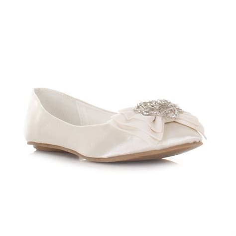flat wedding shoes womens flat ivory satin wedding shoes