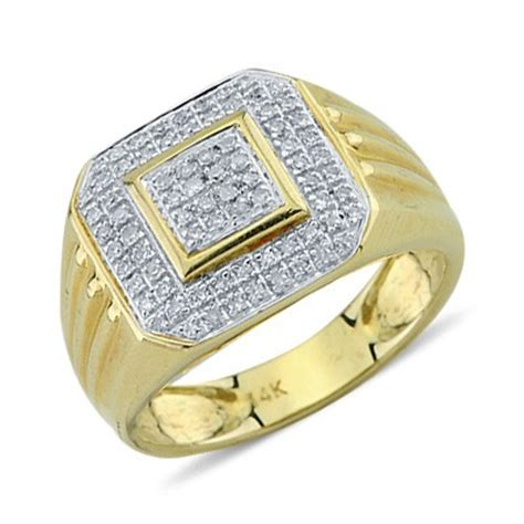solid  yellow gold  cut pave set diamond mens ring