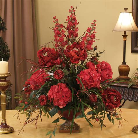 flower arrangements home decor silk flowers grande red hydrangeas roses peonies ar216 199 floral home decor silk flowers