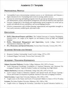 academic curriculum vitae template sle academic cv template 8 documents in pdf