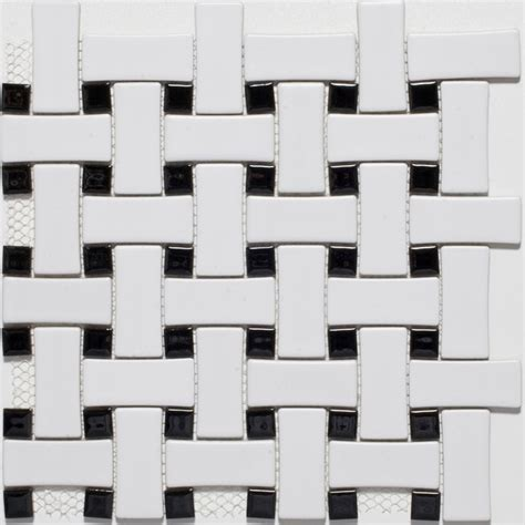 Black And White Ceramic Floor Tile Ceramic White Black Basketweave Mosaic Tiles Contemporary Mosaic Tile Other Metro By