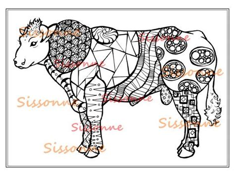 zentangle inspired bull  doodle coloring page instant