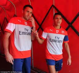 alexis sanchez david ospina arsenal take part in open training session in front of