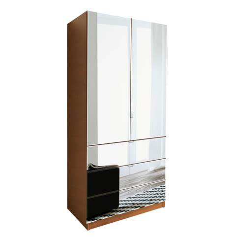 Mirrored Wardrobe With Shelves Alta 3 Drawer Armoire With Width Shelves Contempo Space