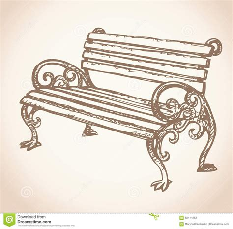 park bench drawing park bench vector drawing stock vector image 62414262
