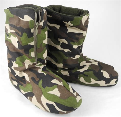 fleece boot slippers small boys green camouflage fleece lined boot bootie boots
