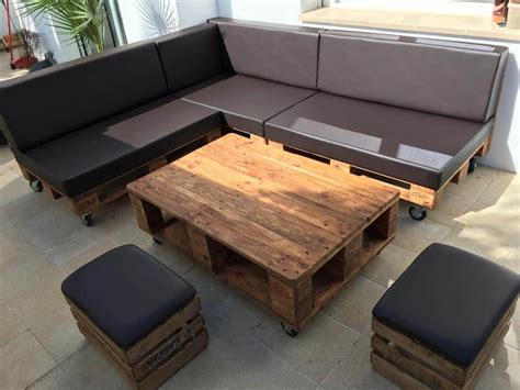 sofa made from pallets pallet sectional sofa set with black cushion 101 pallets