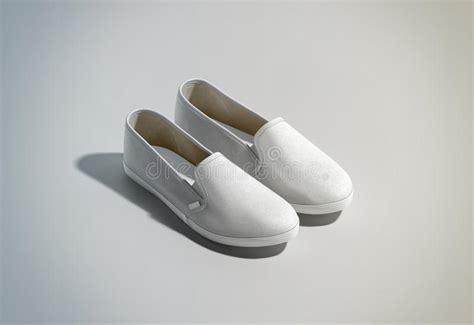 blank white slip on shoes pair design mockup isometric