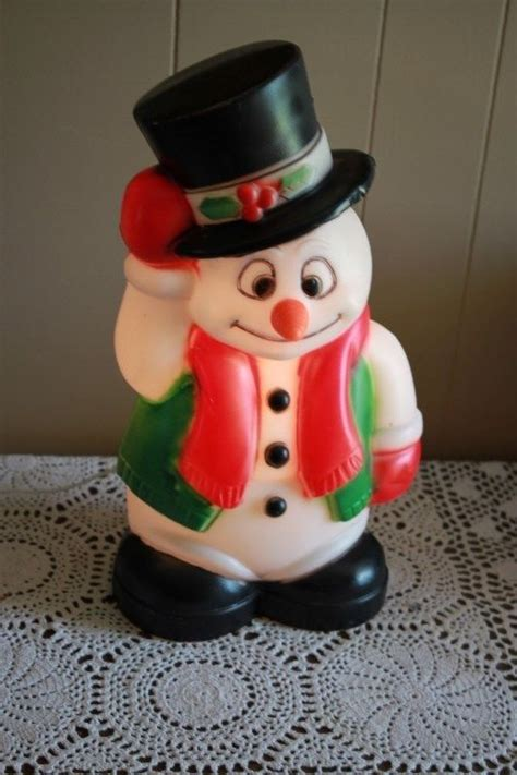 plastic light up snowman vintage 17 5 quot frosty snowman christmas blow mold lights up
