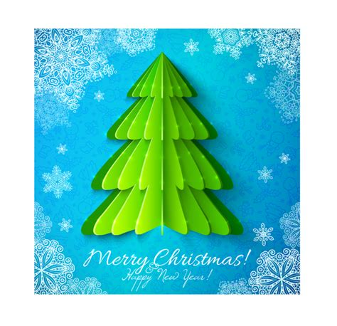 new year 3d origami origami tree with snowflake new year background