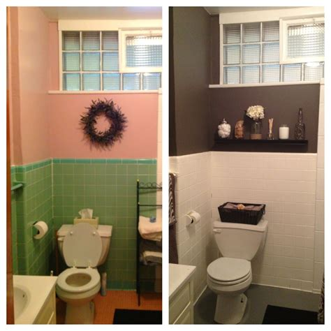 what paint to use on bathroom tiles diy bathroom redo for less than 200 transformed to gray