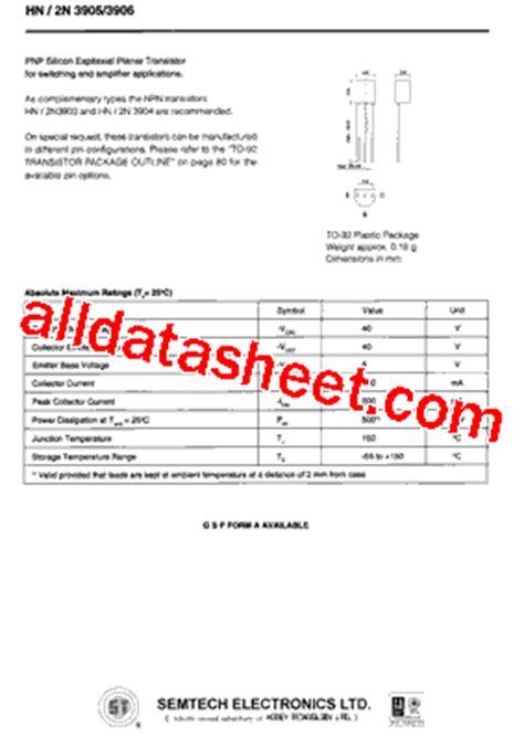 2n3906 transistor datasheet pdf 2n3906 datasheet pdf semtech corporation
