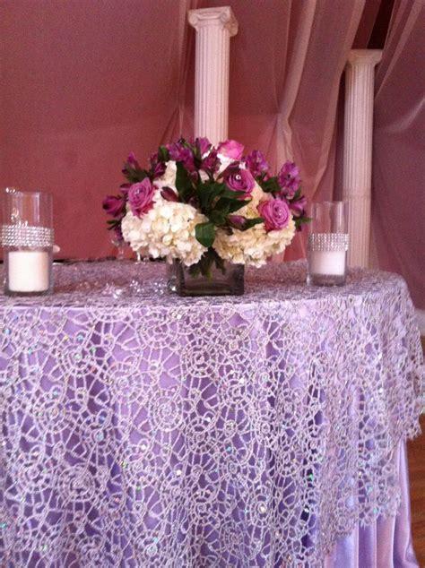 Sweetheart table, sequin lace overlay looks nice week