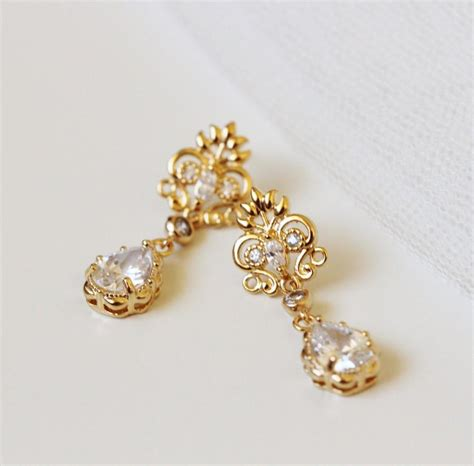 gold bridal earrings vintage style wedding jewelry