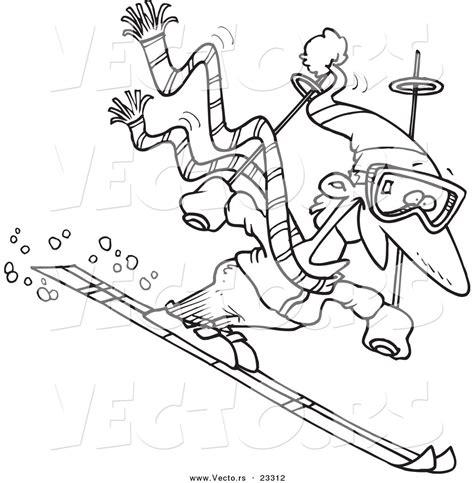 Cartoon Vector of Cartoon Skier Guy   Coloring Page