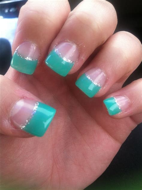 Nail Tips by Acrylic Nails Teal Ish Grey Sparkle Lining Tips