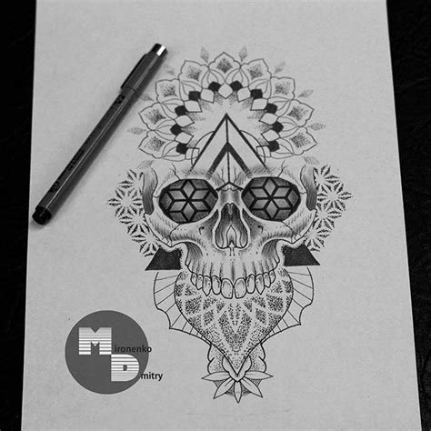 mandala tattoo flash book tattoosketch dotwork skull mandala skulltattoo