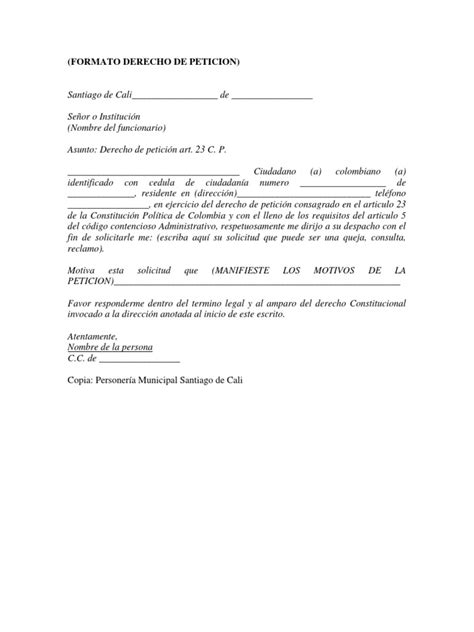 formato solicitud a una autoridad administrativa gratis formato derecho de peticion