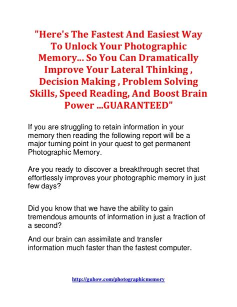 unlock your photographic memory how to think smarter and clearer maximize concentration learn faster remember more and be more productive books how to unlock your photographic memory learn mental