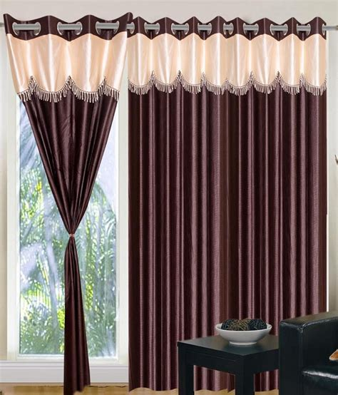 fancy curtains for home home sazz coffee brown valance combo of 3 fancy window