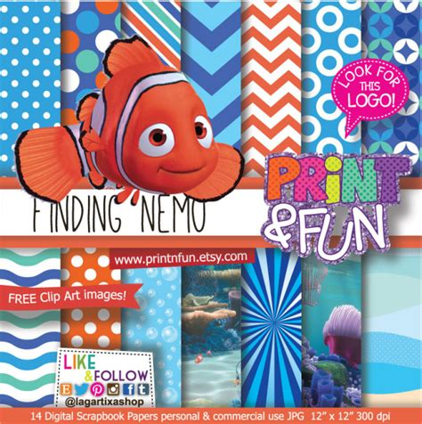 printable art buy finding nemo digital paper patterns and free clip art