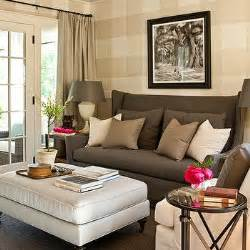 Gray wingback sofa cottage living room southern living