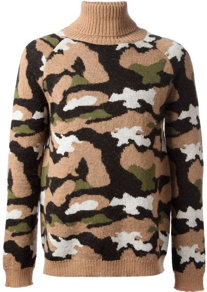 A10319 Veneta Sweater Jumbo Print msgm camouflage print knit sweater in multicolor for neutrals lyst