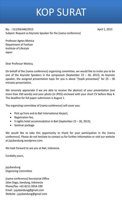 format cv narasumber surat undangan pembicara bahasa inggris jujubandung