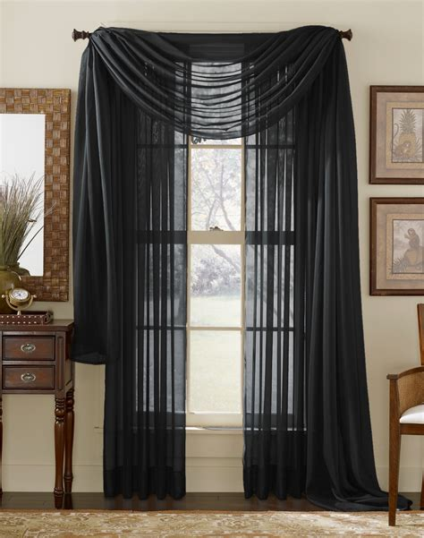 Black And Drapes Black Sheer Curtain Scarf Moshells