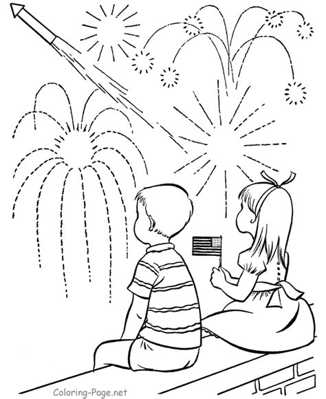 Watching Fireworks 4th Of July Coloring Pages Coloring Page Net