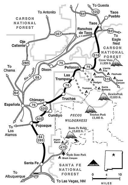map of High Road between Santa Fe and Taos | Travel dreams, Taos