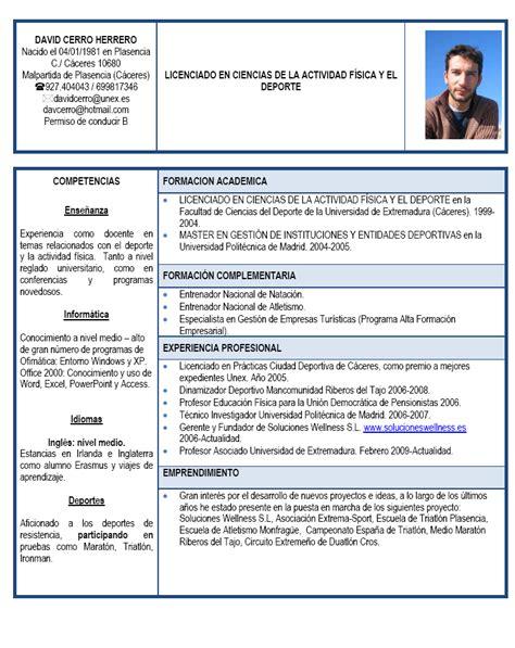 Modelo Curriculum Vitae Deportivo Gratis Emprendedores Deportivos Curriculum