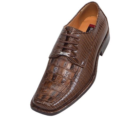 wide mens dress shoes bolano mens wide width brown faux croco embossed oxford