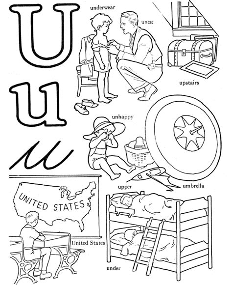 V Words Coloring Page by Geography Letter U Coloring Pages
