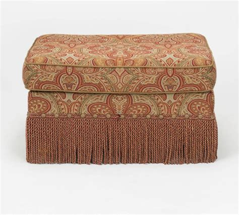 paisley ottoman chair and ottoman upholstered in wool paisley fabric at