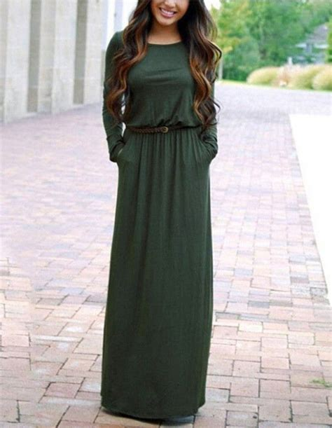 Blue Army Maxi Dress sleeve belted casual fall maxi dress with