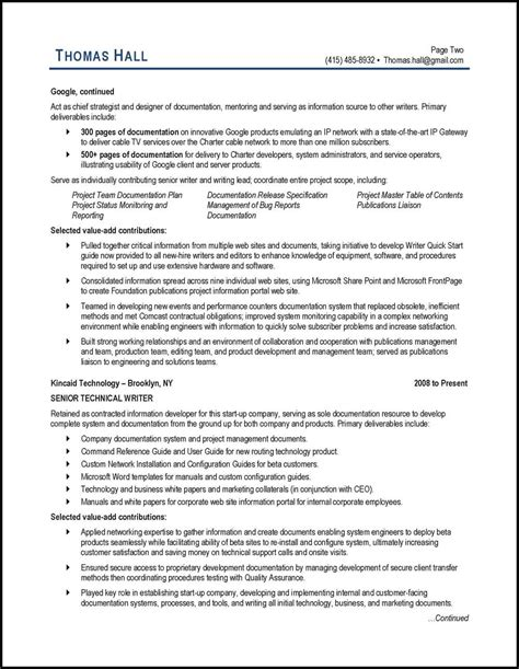 technical writer resume exle and expert tips