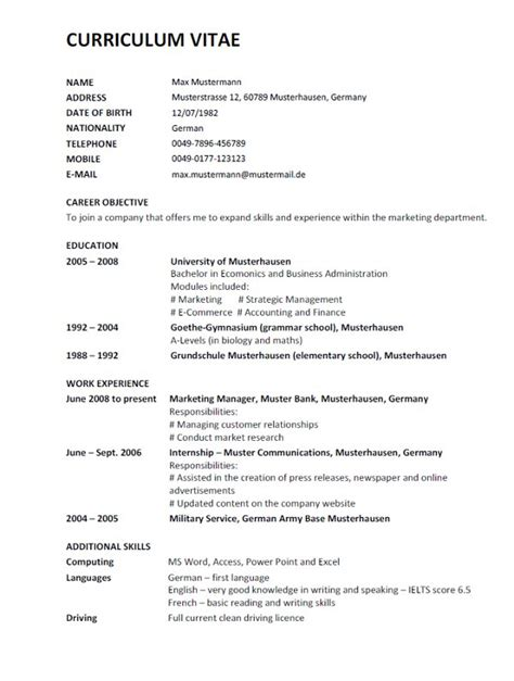 Lebenslauf In Translation Cv Resume Resume Cv 252 Bersetzung