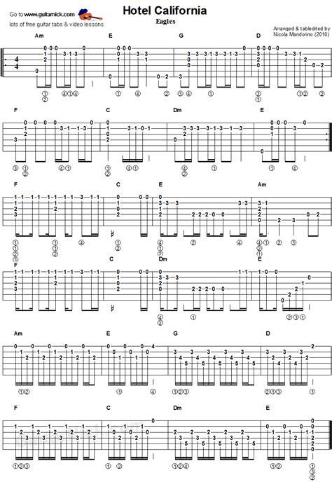 tutorial de fingerstyle hotel california guitar chords tablature muzika