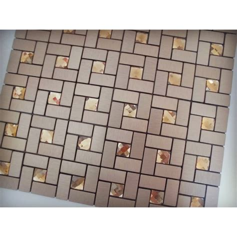 grid pattern backsplash adhesive mosaic tile bronze brushed aluminum metal glass