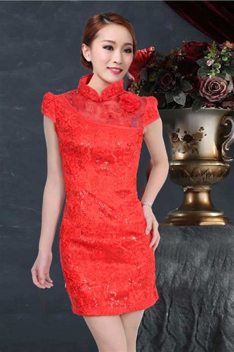 Dress Brukat Hitam Merah dress cheongsam merah cantik bahan brokat model terbaru