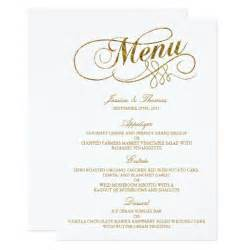 Menu Template Wedding by Chic Faux Gold Foil Wedding Menu Template Card Zazzle