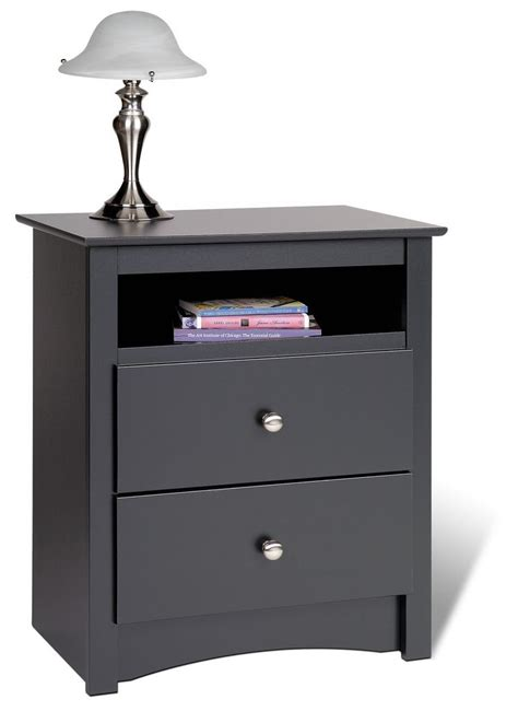high nightstand prepac sonoma black 23 inch 2 drawer tall nightstand w