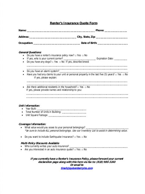 11 Insurance Quote Form Samples   Free Sample, Example