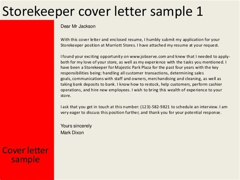 Cover Letter For Store Keeper Storekeeper Cover Letter