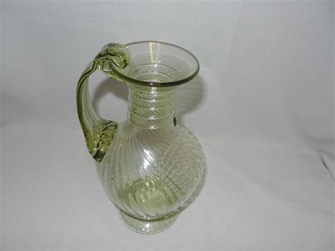 vintage blown glass ls vintage hand blown art glass pitcher from