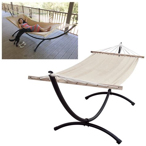 backyard hammock stand heavy duty steel hammock stand tri beam outdoor patio swing free linen hammock ebay