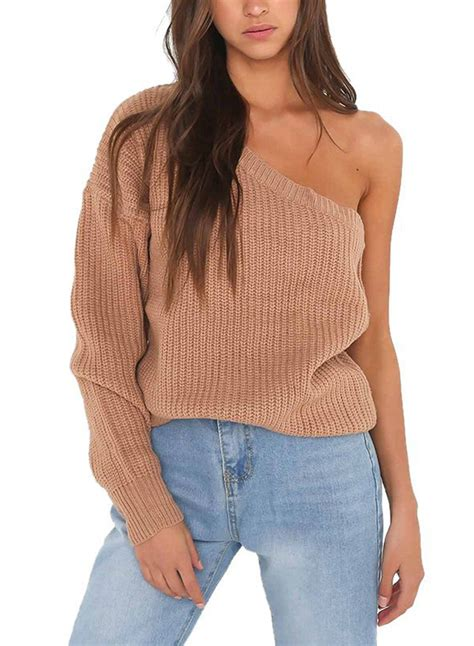 one shoulder knit sweater s fashion one shoulder sleeve knit pullover