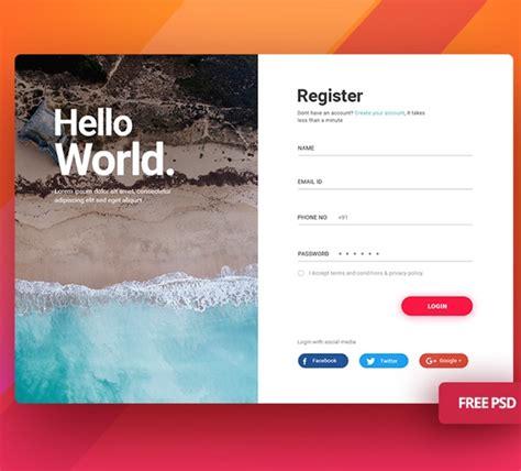 login screen ui kit modern clean  psd