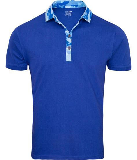 t shirt zovi blue polo t shirt with camouflage collar buy zovi